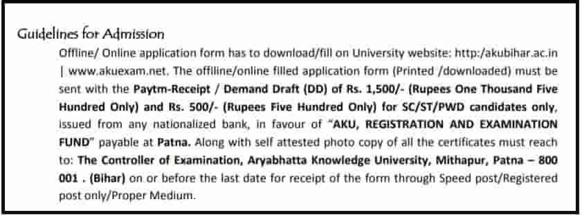 Bihar AKU M.Ed Admission Guidelines