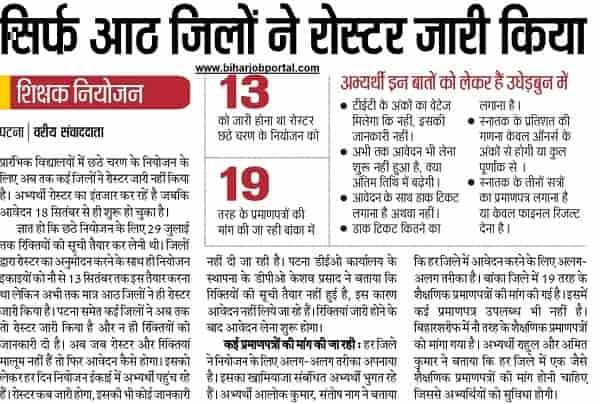 Bihar School Teacher Recruitment 2019 - District Wise