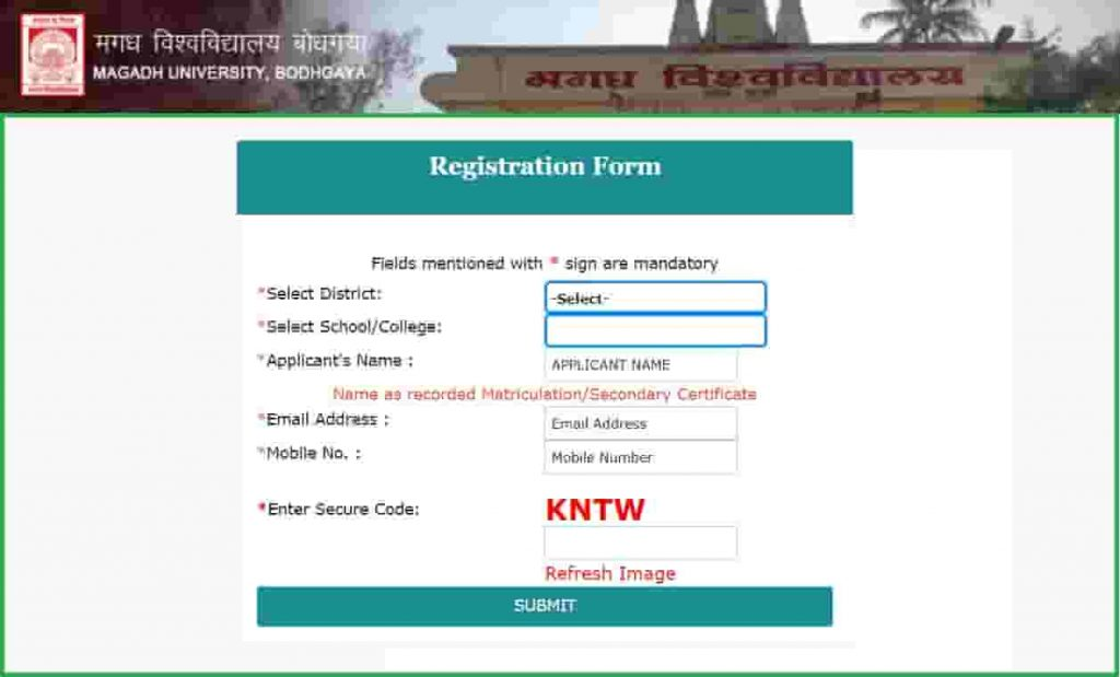 Magadh University UG BA BCom BSc Part 1 Exam Online Form