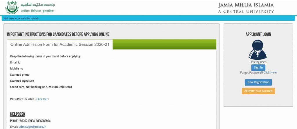 JMI University Admission Online Form 2020