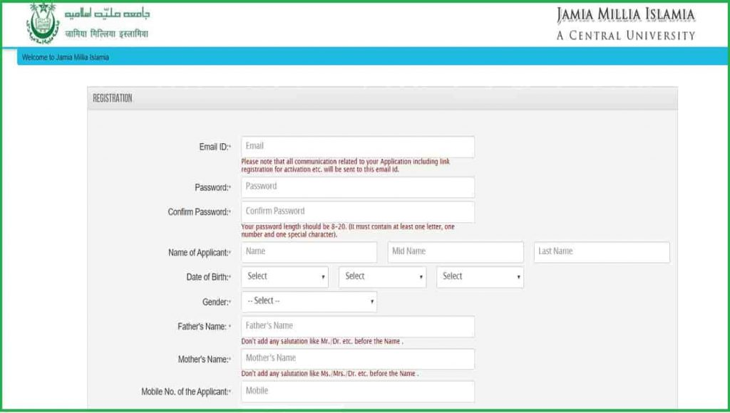 Jamia Milia Islamia University Admission Online Form 2020