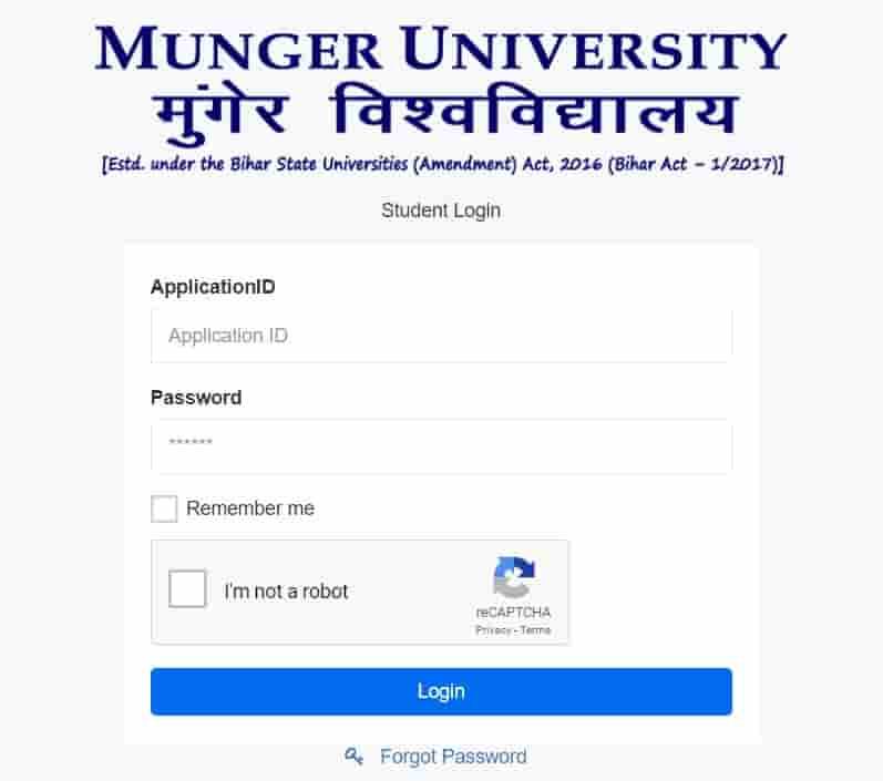 Munger University BA BSc BCom Exam Online Form