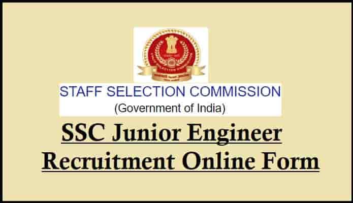 SSC Junior Engineer Bharti Online Form